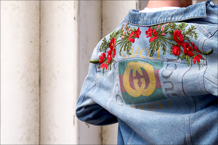 Gucci Men's Embroidered Denim Jacket